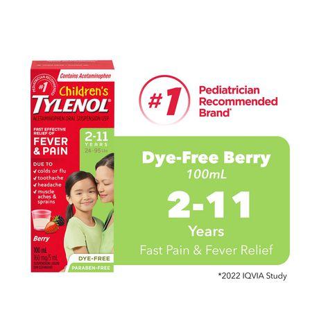 TYLENOL®Children's Acetaminophen Suspension Liquid - Dye-Free Soothing Berry, 100 ml - image 1 of 6