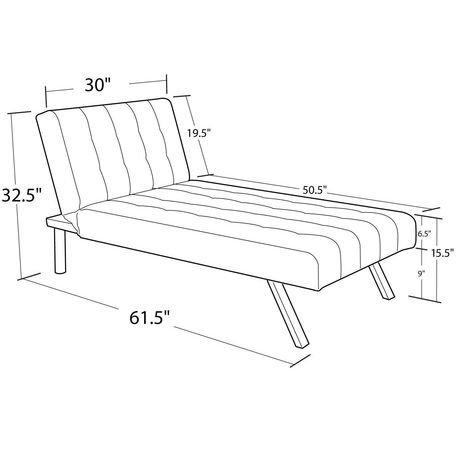 Dhp emily linen chaise lounger walmart canada for Dimension chaise longue