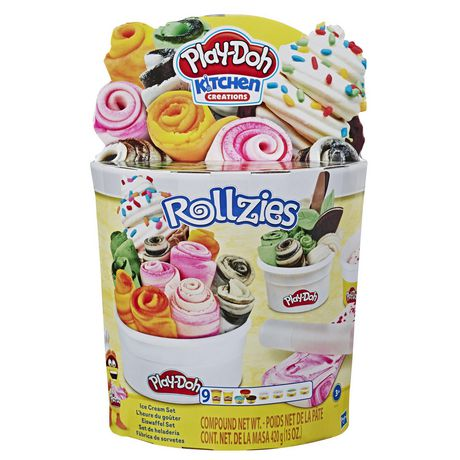 Cylindrical container containing Play-Doh Rollzies ice cream set and various accessories