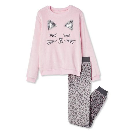 Two-piece pink and grey pyjama set with sleeping cat motif
