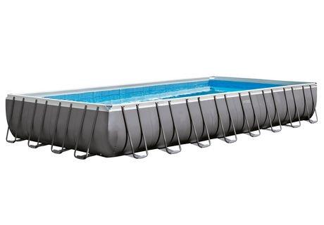 Intex ultra frame rectangular above ground pool with sand for Piscine intex ultra frame 5 49x1 32