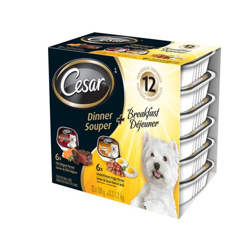 Cesar Dinner + Breakfast Variety Pack Filet Mignon, Smoked Bacon & Eggs Wet Dog Food for Small Dogs - image 3 of 7