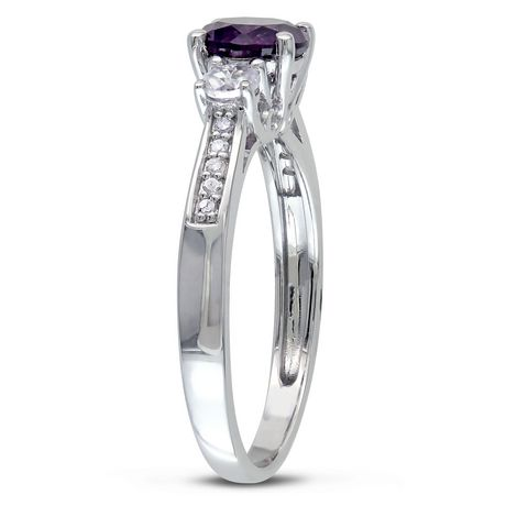 0700278c81774 Tangelo 1.33 Carat T.G.W. Created Alexandrite with Created White Sapphire  and Diamond-Accent 10 K White Gold Three Stone Ring