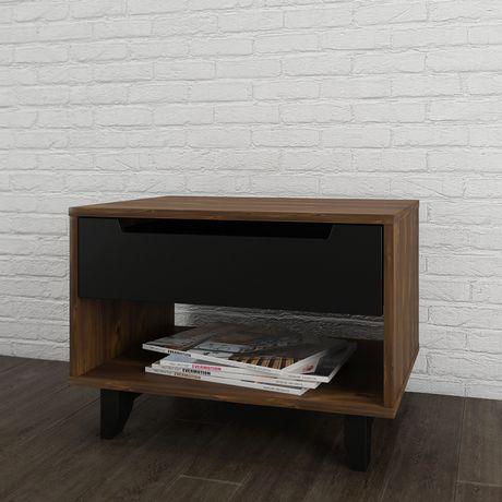 Table de nuit 1 tiroir Nocce de Nexera, Truffe et noir - image 2 de 5