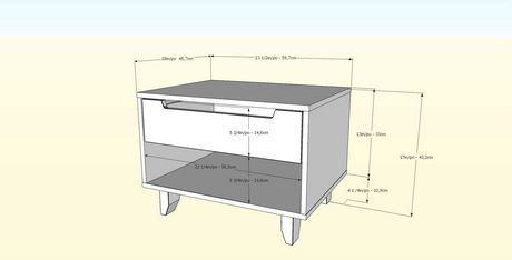 Table de nuit 1 tiroir Nocce de Nexera, Truffe et noir - image 3 de 5