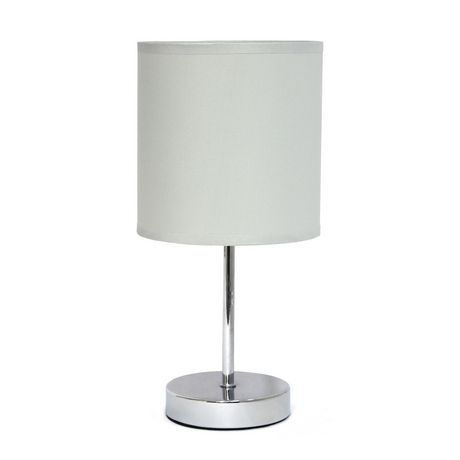Simple Designs Chrome Mini Basic Table Lamp with Fabric Shade - image 1 of 8