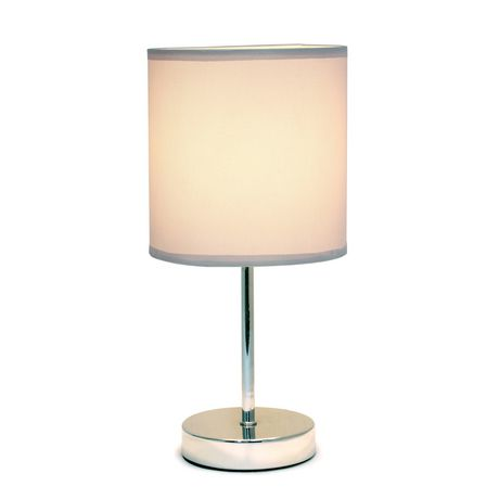 Simple Designs Chrome Mini Basic Table Lamp with Fabric Shade - image 2 of 8