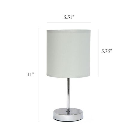 Simple Designs Chrome Mini Basic Table Lamp with Fabric Shade - image 3 of 8
