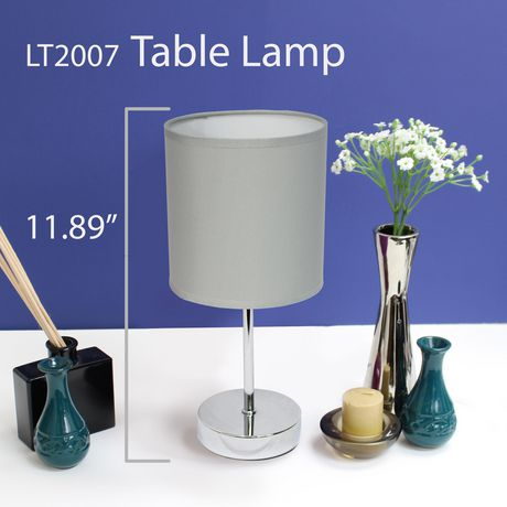 Simple Designs Chrome Mini Basic Table Lamp with Fabric Shade - image 4 of 8