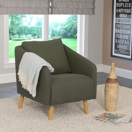 Corliving Dolsey Flared Wooden Legs And Woven Fabric