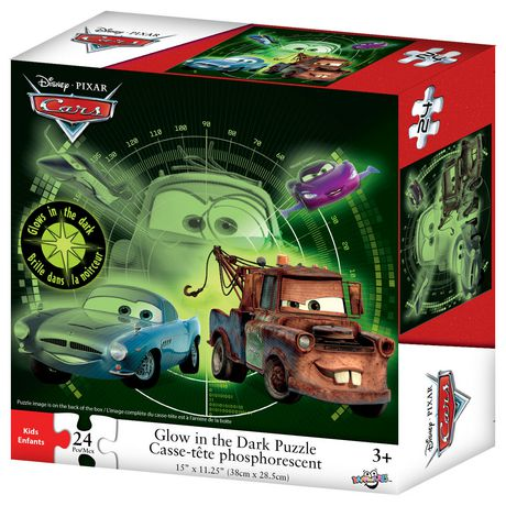disney pixar cars glow in the dark puzzle 24 pieces. Black Bedroom Furniture Sets. Home Design Ideas