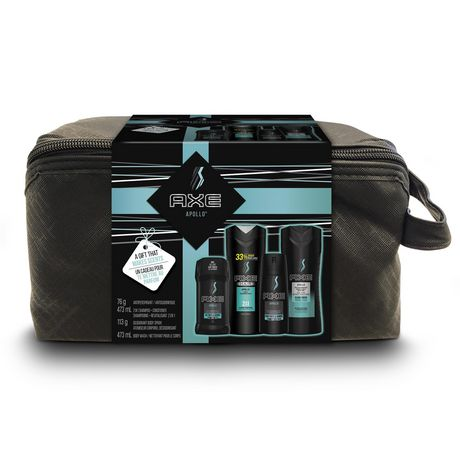 Holiday gift pack from AXE containing body wash, shampoo and conditioner, antiperspirant and body spray in a black zippered case