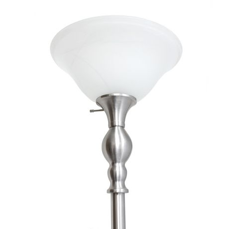 Elegant Designs 1 Light Torchiere Floor Lamp with Marbleized White Glass Shade - image 4 of 8
