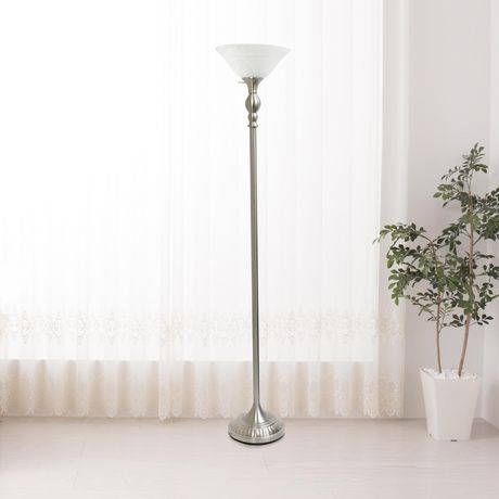 Elegant Designs 1 Light Torchiere Floor Lamp with Marbleized White Glass Shade - image 7 of 8