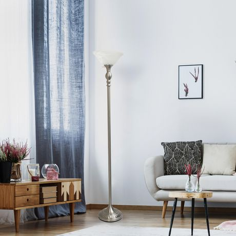 Elegant Designs 1 Light Torchiere Floor Lamp with Marbleized White Glass Shade - image 8 of 8