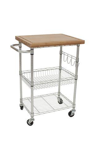 Trinity Ecostorage Bamboo Kitchen Cart Chrome Walmart
