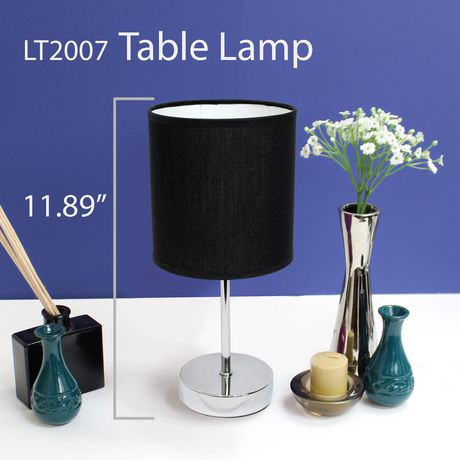 Simple Designs Chrome Mini Basic Table Lamp with Fabric Shade - image 2 of 4