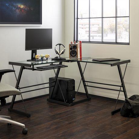 Manor Park Bureau d'ordinateur en coin de verre et de métal - noir - image 1 de 8