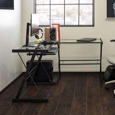 Manor Park Bureau d'ordinateur en coin de verre et de métal - noir - image 3 de 8
