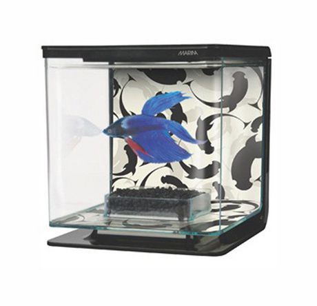 Marina betta kit ying yang theme for Self cleaning fish tank walmart