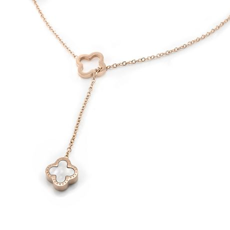 Pure316 - Womens Rose Gold Plated 316L Stainless Steel Reversible Clover Y Necklace - JKN-313-R - image 1 of 6