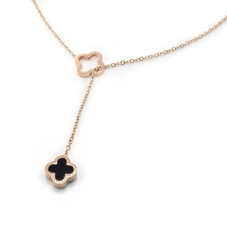Pure316 - Womens Rose Gold Plated 316L Stainless Steel Reversible Clover Y Necklace - JKN-313-R - image 6 of 6