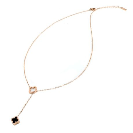 Pure316 - Womens Rose Gold Plated 316L Stainless Steel Reversible Clover Y Necklace - JKN-313-R - image 2 of 6