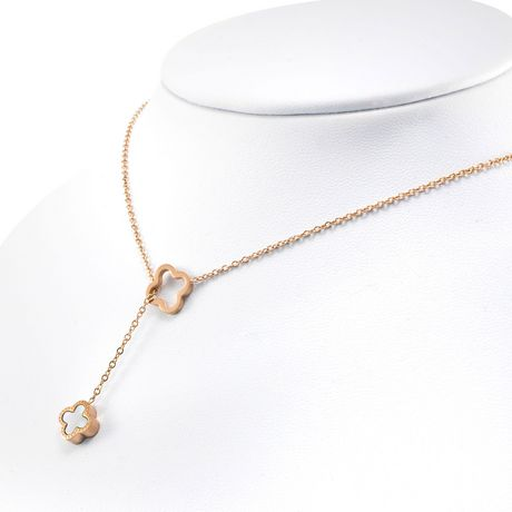 Pure316 - Womens Rose Gold Plated 316L Stainless Steel Reversible Clover Y Necklace - JKN-313-R - image 3 of 6