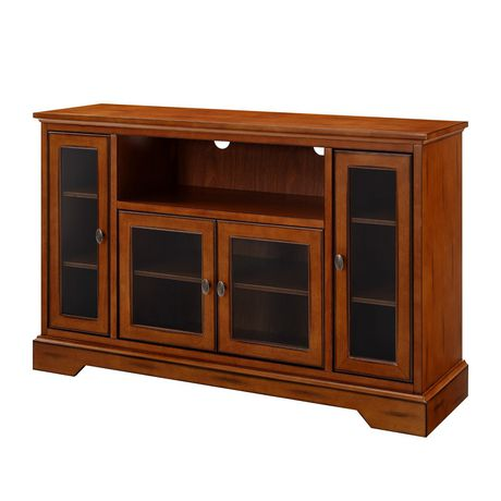 "WE Furniture 52"" Brown Wood Highboy TV Stand - image 4 of 8"