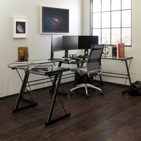 Manor Park Bureau d'ordinateur en coin de verre et de métal - noir - image 4 de 8