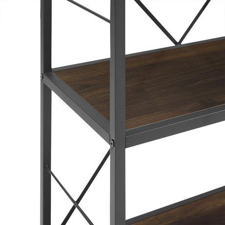 Manor Park Armoire de livres et médias rustique en bois et métal de 160cm (63po) - Noyer foncé - image 5 de 7