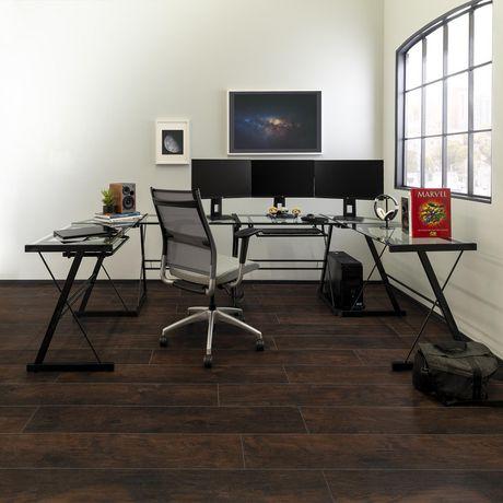 Manor Park Bureau d'ordinateur en coin de verre et de métal - noir - image 5 de 8