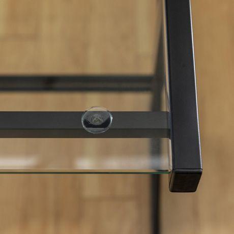 Manor Park Bureau d'ordinateur en coin de verre et de métal - noir - image 7 de 8