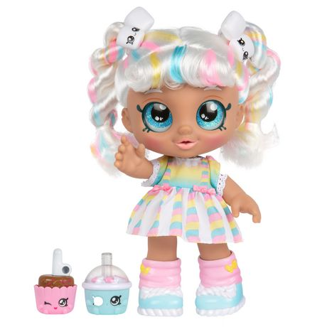 Plastic girl doll with rainbow-coloured hair and clothes from Kindi Kids