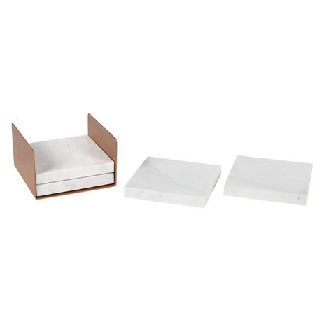 hometrends Four White and Gray Marble Coasters In Rose Gold Metal Holder - image 2 of 6