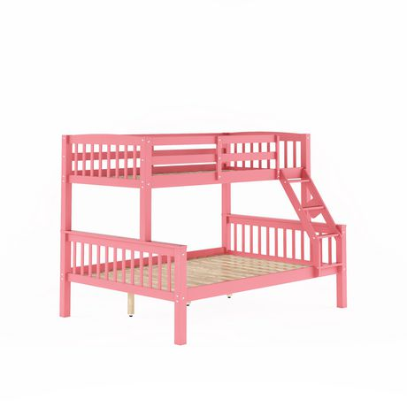 Corliving Dakota Single Over Double Pink Painted Wood Bunk Bed