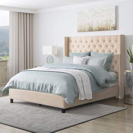 CorLiving Très grand lit Fairfield en tissu avec tête de lit capitonnée avec côtés - image 3 de 9