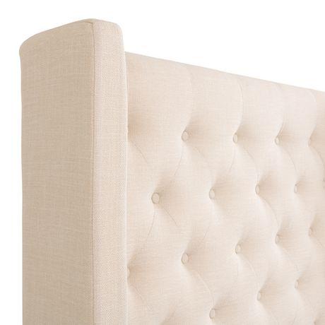 CorLiving Très grand lit Fairfield en tissu avec tête de lit capitonnée avec côtés - image 4 de 9