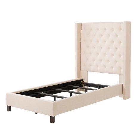 corliving lit 1 place fairfield en tissu avec t te de lit capitonn e avec c t s walmart canada. Black Bedroom Furniture Sets. Home Design Ideas