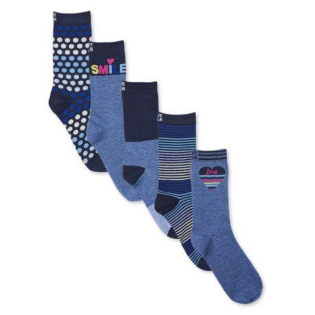 Love Ellen Degeneres 5-Pack Women S Smile Crew Socks Navy 4-10