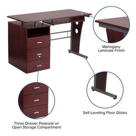 Keyboard Tray Canada, Flash Furniture Computer Desk With 3 Drawer Pedestal Mahogany
