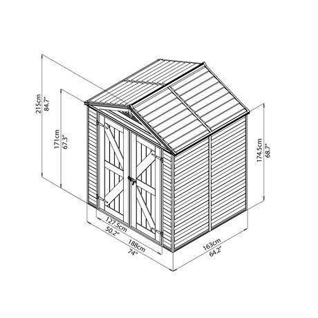 Cabanon de rangement de 6 x 5 pi skylight de palram for Cabanon de rangement