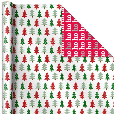 """Hallmark 30"""" Trees on White/Ho Ho Ho on Red Reversible Christmas Wrapping Paper Roll, 269 sq. ft ..."""