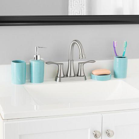Home Basics Ensemble d'accessoires de bain Horizon, 4 pièces, turquoise - image 1 de 7