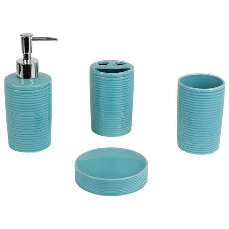 Home Basics Ensemble d'accessoires de bain Horizon, 4 pièces, turquoise - image 2 de 7