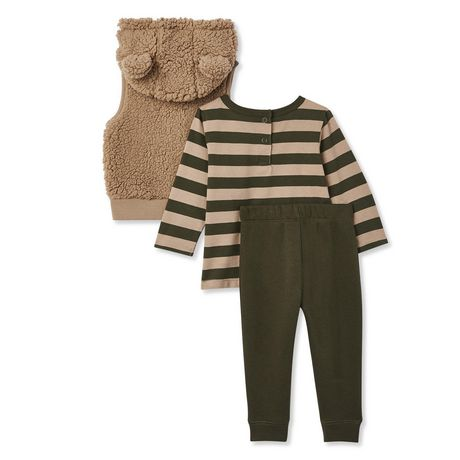 George Baby Boys' Microfleece Vest, Tee and Jogger 3-Piece Set - image 2 of 2