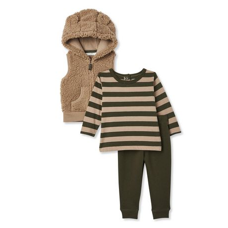 George Baby Boys' Microfleece Vest, Tee and Jogger 3-Piece Set - image 1 of 2