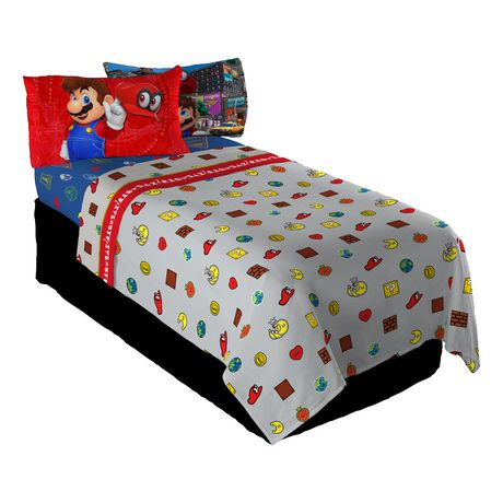 ensemble de draps pour lit 1 place mario caps off walmart canada. Black Bedroom Furniture Sets. Home Design Ideas