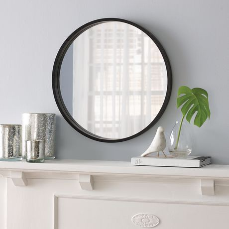 Hometrends black finish round mirror walmart canada for Round mirror canada
