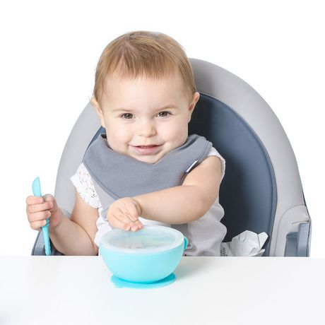 Bumkins - Silicone First Feeding Set with Lid & Spoon - Blue - image 6 of 8